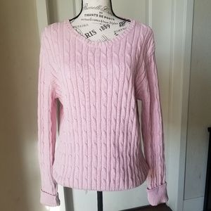St John's Bay Pink Cable Knit Sweater